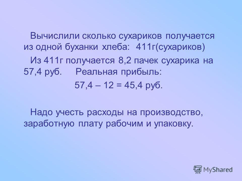 На основании полученных данных, решили вычислить реальную прибыль от одной буханки черного хлеба для изготовления сухариков. 1 буханка хлеба(750г)-12 р. 1 буханка хлеба(750г)-12 р. 1 пачка сухариков(50г)-7р 1 пачка сухариков(50г)-7р