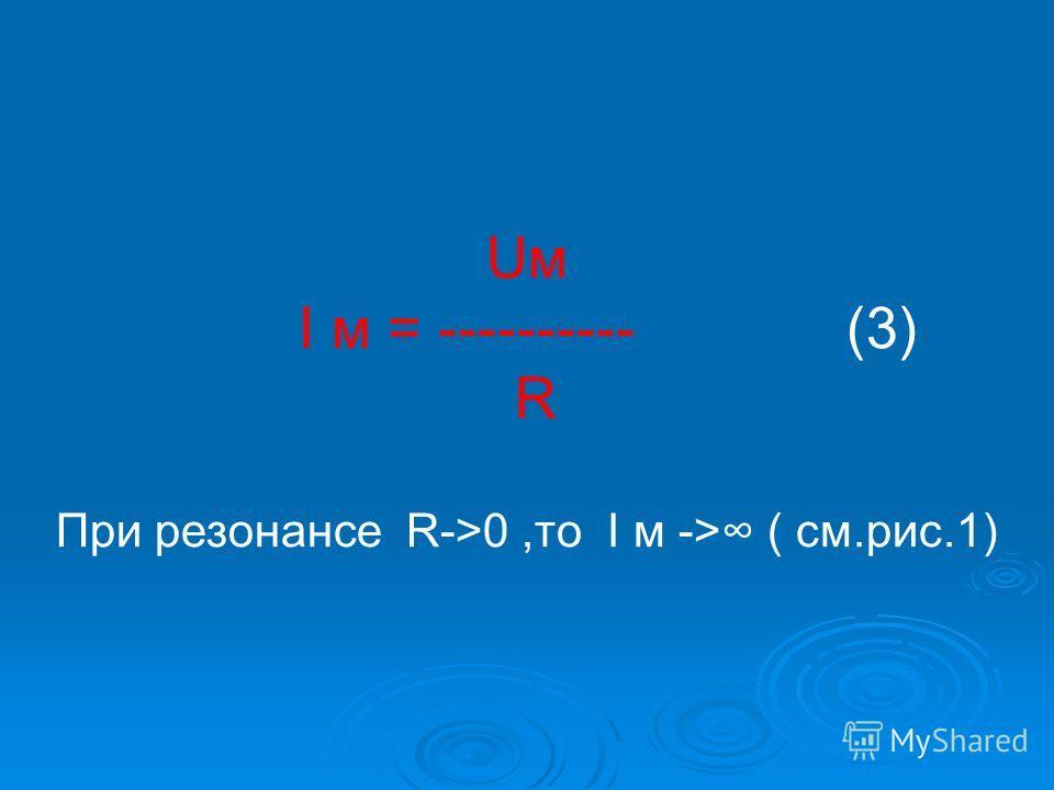 Uм I м = ---------- (3) R При резонансе R->0,то I м -> ( см.рис.1)