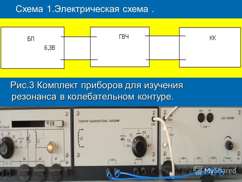 Схема 1.Электрическая схема. Рис.3 Комплект приборов для изучения резонанса в колебательном контуре. Рис.3 Комплект приборов для изучения резонанса в колебательном контуре.