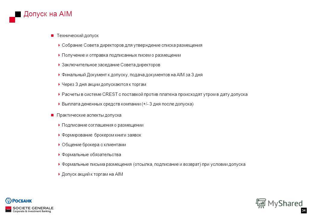 Допуск на AIM 34 Технический допуск Собрание Совета директоров для утверждение списка размещения Получение и отправка подписанных писем о размещении Заключительное заседание Совета директоров Финальный Документ к допуску, подача документов на AIM за