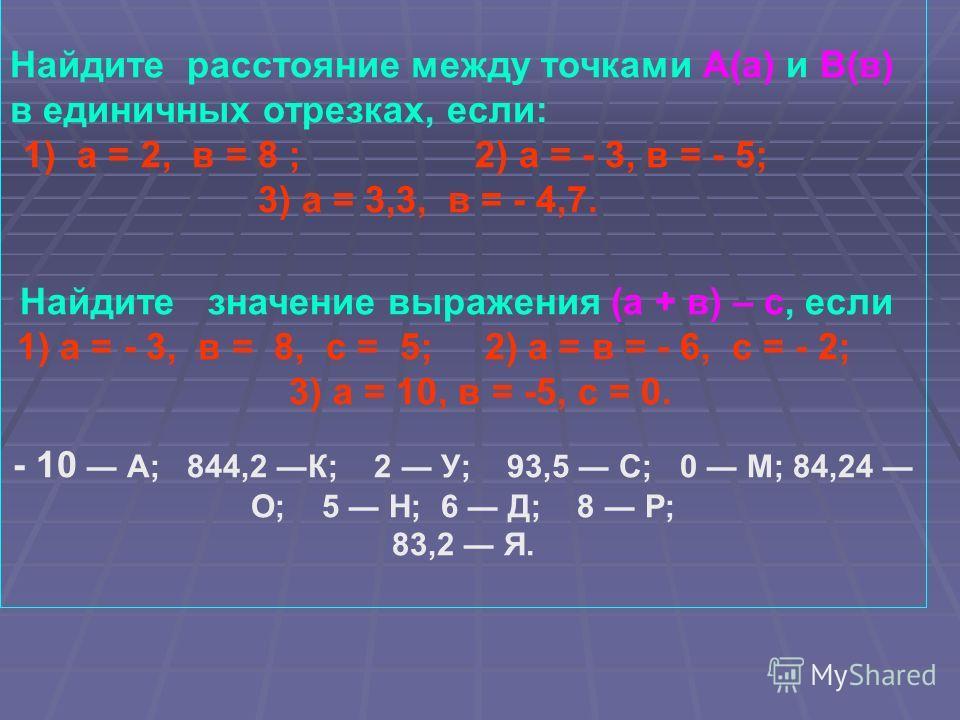 Найдите расстояние между точками А(а) и В(в) в единичных отрезках, если: 1) а = 2, в = 8 ; 2) а = - 3, в = - 5; 3) а = 3,3, в = - 4,7. Найдите значение выражения (а + в) – с, если 1) а = - 3, в = 8, с = 5; 2) а = в = - 6, с = - 2; 3) а = 10, в = -5,
