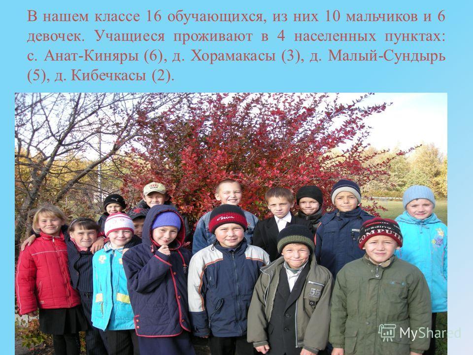 В нашем классе 16 обучающихся, из них 10 мальчиков и 6 девочек. Учащиеся проживают в 4 населенных пунктах: с. Анат-Киняры (6), д. Хорамакасы (3), д. Малый-Сундырь (5), д. Кибечкасы (2).