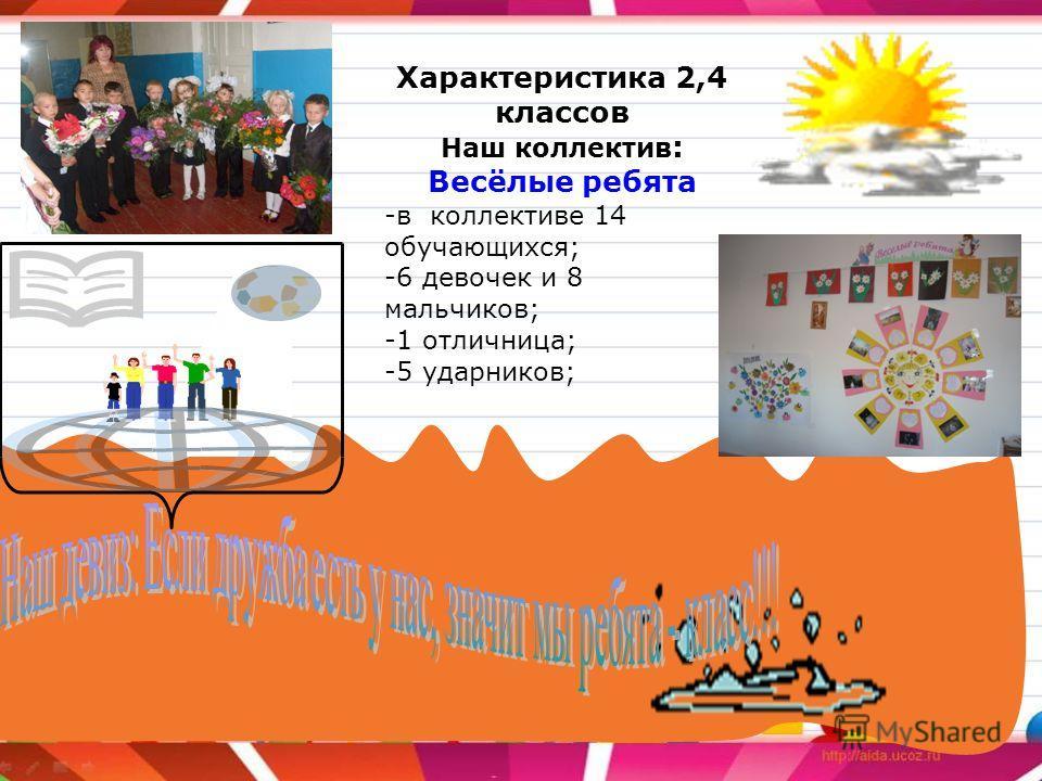 Характеристика 2,4 классов Наш коллектив : Весёлые ребята -в коллективе 14 обучающихся; -6 девочек и 8 мальчиков; -1 отличница; -5 ударников;