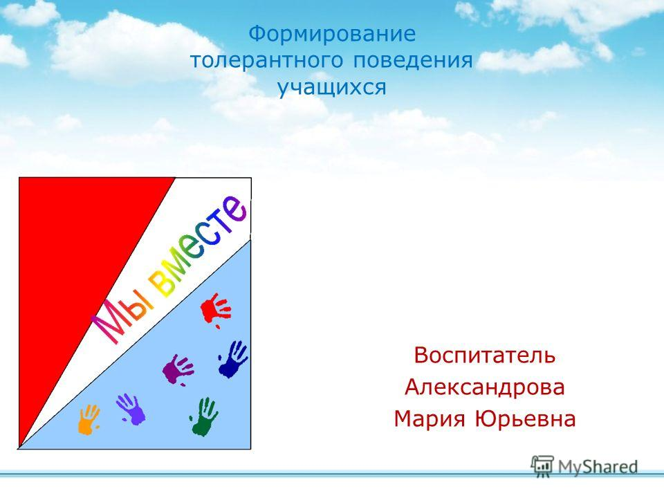 Воспитатель Александрова Мария Юрьевна Формирование толерантного поведения учащихся