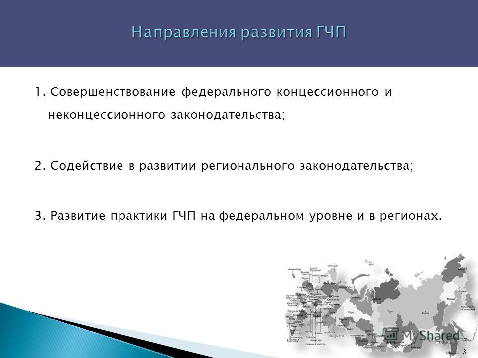 1. Совершенствование федерального концессионного и неконцессионного законодательства; 2. Содействие в развитии регионального законодательства; 3. Развитие практики ГЧП на федеральном уровне и в регионах. 3
