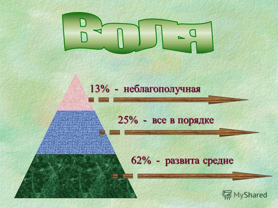 13% - неблагополучная 25% - все в порядке 62% - развита средне