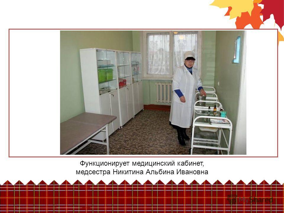 Функционирует медицинский кабинет, медсестра Никитина Альбина Ивановна