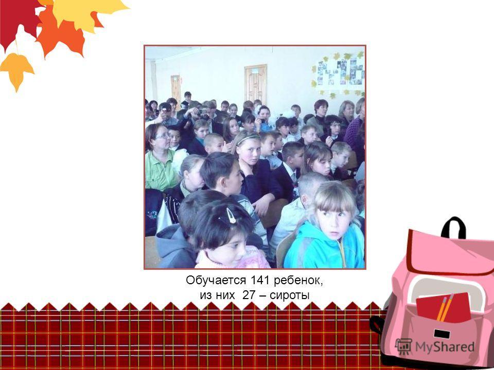 Обучается 141 ребенок, из них 27 – сироты