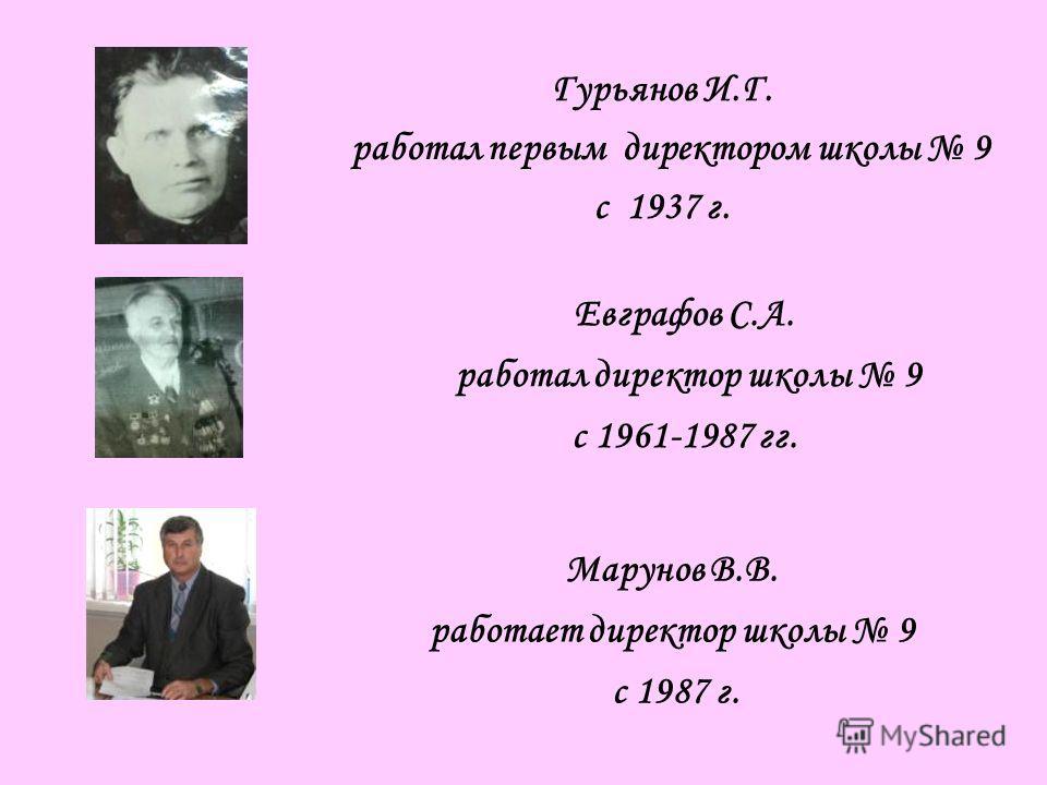 Гурьянов И.Г. работал первым директором школы 9 с 1937 г. Евграфов С.А. работал директор школы 9 с 1961-1987 гг. Марунов В.В. работает директор школы 9 с 1987 г.