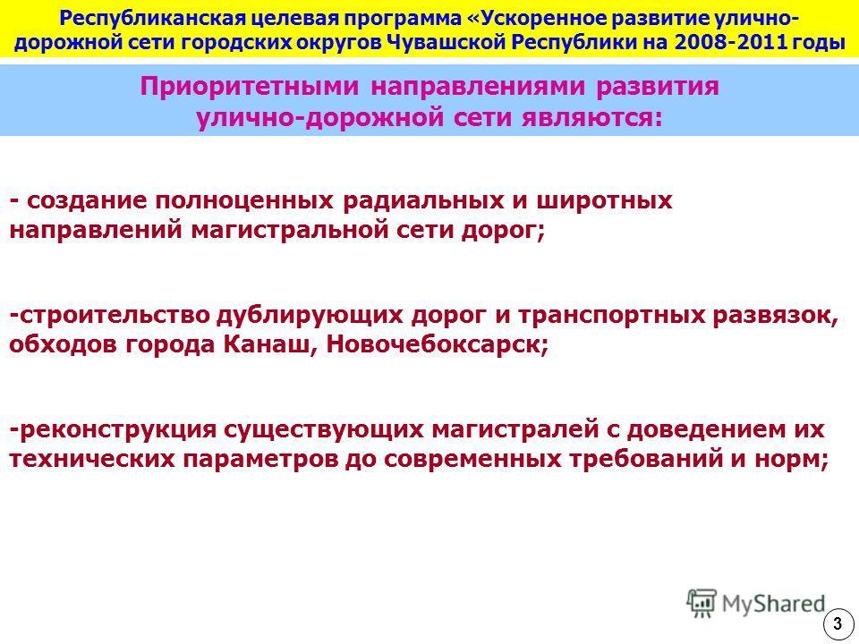 Республиканская целевая программа «Ускоренное развитие улично- дорожной сети городских округов Чувашской Республики на 2008-2011 годы Приоритетными направлениями развития улично-дорожной сети являются: - создание полноценных радиальных и широтных нап