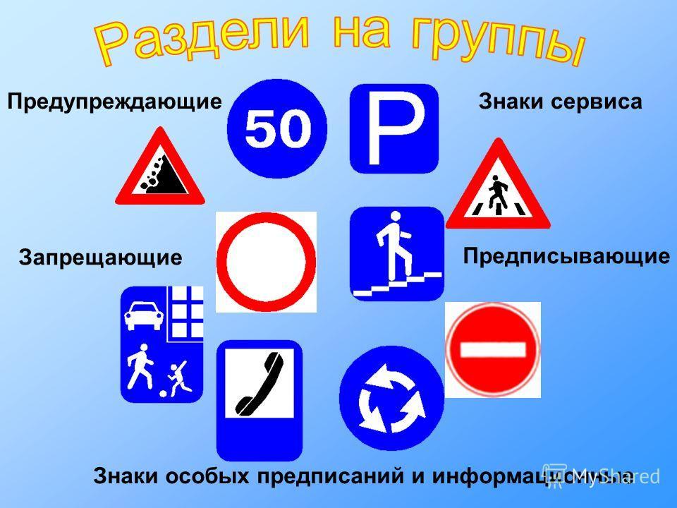 Предупреждающие Запрещающие Знаки сервиса Предписывающие Знаки особых предписаний и информационные
