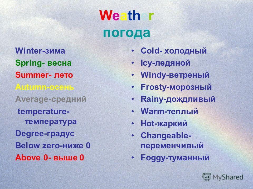 Weather погода Winter-зима Spring- весна Summer- лето Autumn-осень Average-средний temperature- температура Degree-градус Below zero-ниже 0 Above 0- выше 0 Cold- холодный Icy-ледяной Windy-ветреный Frosty-морозный Rainy-дождливый Warm-теплый Hot-жарк