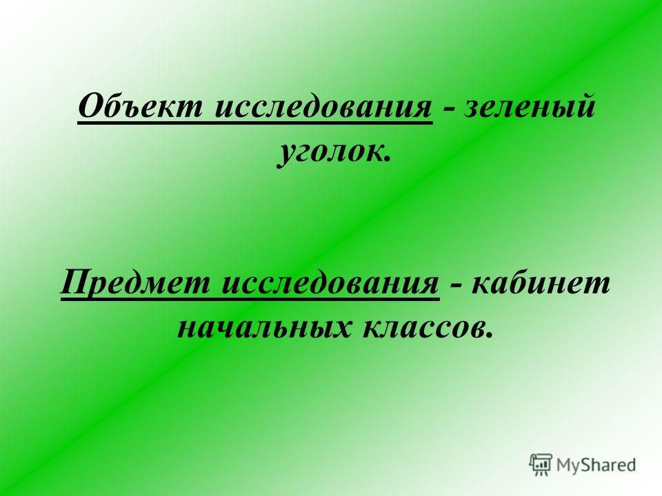 Объект исследования - зеленый уголок. Предмет исследования - кабинет начальных классов.