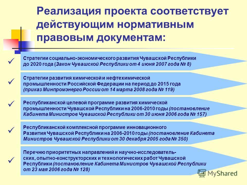 Реализация проекта соответствует действующим нормативным правовым документам: Стратегии социально-экономического развития Чувашской Республики до 2020 года (Закон Чувашской Республики от 4 июня 2007 года 8) Стратегии развития химической и нефтехимиче