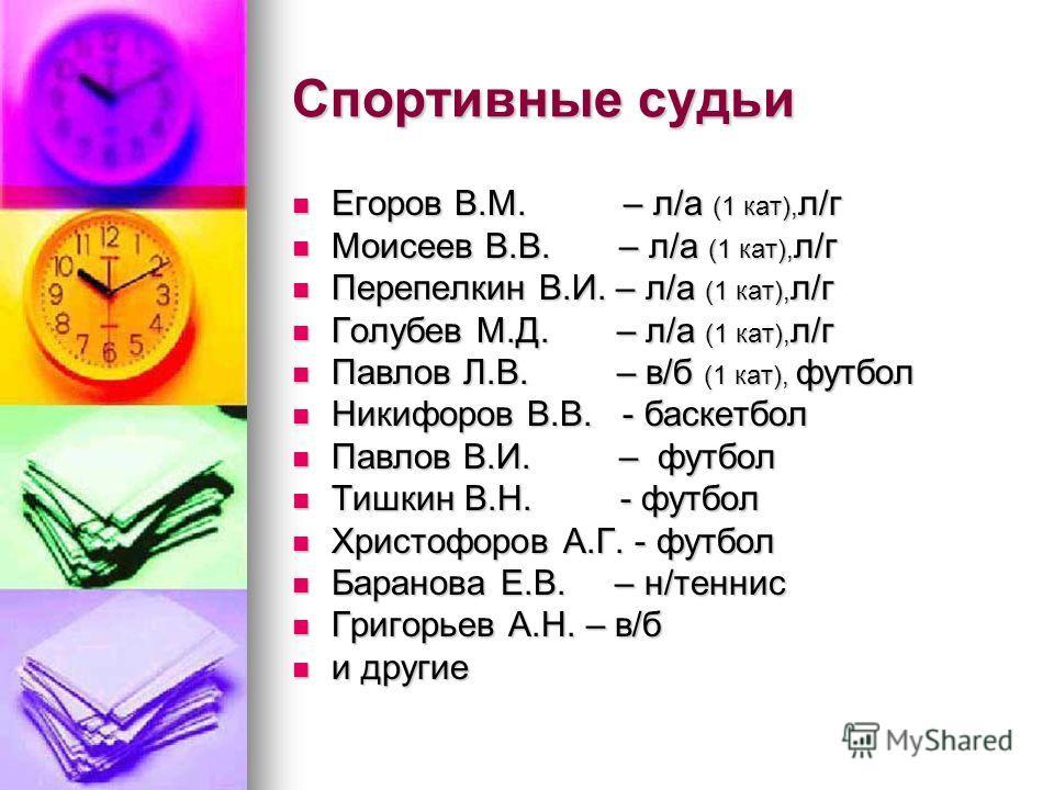Спортивные судьи Егоров В.М. – л/а (1 кат), л/г Егоров В.М. – л/а (1 кат), л/г Моисеев В.В. – л/а (1 кат), л/г Моисеев В.В. – л/а (1 кат), л/г Перепелкин В.И. – л/а (1 кат), л/г Перепелкин В.И. – л/а (1 кат), л/г Голубев М.Д. – л/а (1 кат), л/г Голуб