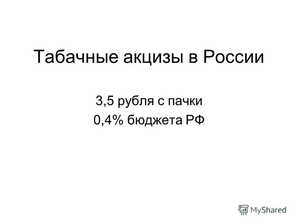Табачные акцизы в России 3,5 рубля с пачки 0,4% бюджета РФ