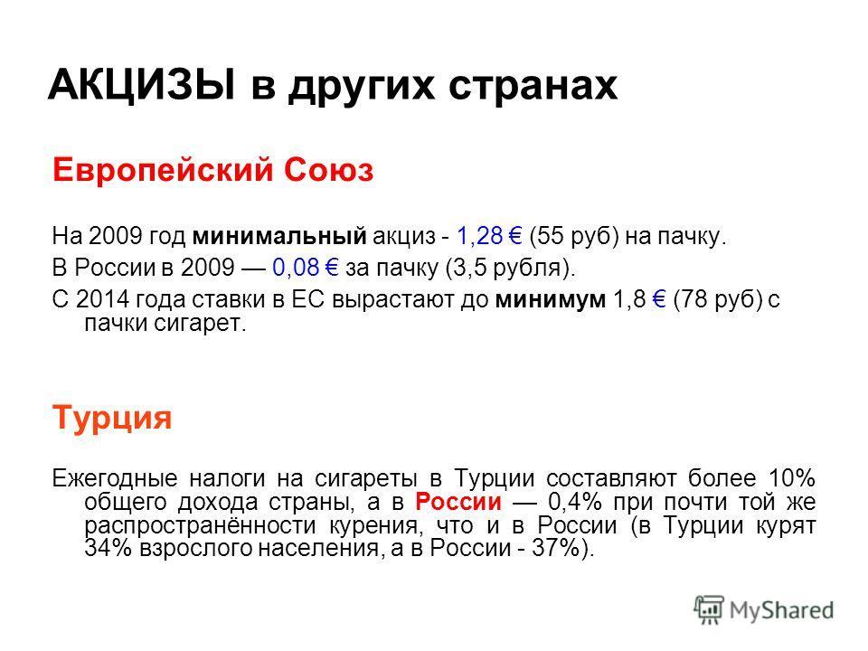 АКЦИЗЫ в других странах Eвропейский Союз На 2009 год минимальный акциз - 1,28 (55 руб) на пачку. В России в 2009 0,08 за пачку (3,5 рубля). С 2014 года ставки в ЕС вырастают до минимум 1,8 (78 руб) с пачки сигарет. Турция Ежегодные налоги на сигареты