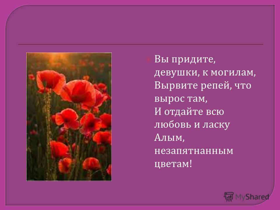 Вы придите, девушки, к могилам, Вырвите репей, что вырос там, И отдайте всю любовь и ласку Алым, незапятнанным цветам!