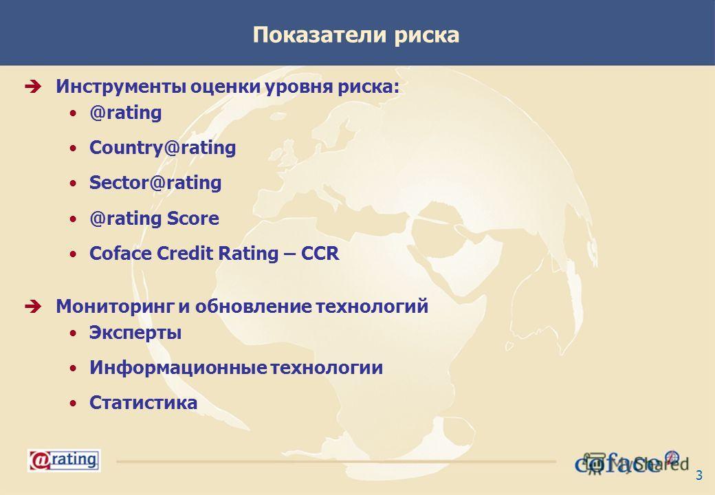 3 Показатели риска Инструменты оценки уровня риска: @rating Country@rating Sector@rating @rating Score Coface Credit Rating – CCR Мониторинг и обновление технологий Эксперты Информационные технологии Статистика