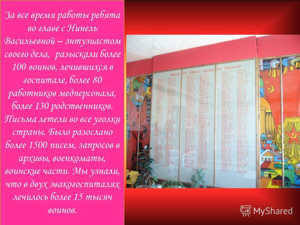 За все время работы ребята во главе с Нинель Васильевной – энтузиастом своего дела, разыскали более 100 воинов, лечившихся в госпитале, более 80 работников медперсонала, более 130 родственников. Письма летели во все уголки страны. Было разослано боле