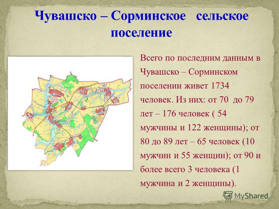 Всего по последним данным в Чувашско – Сорминском поселении живет 1734 человек. Из них: от 70 до 79 лет – 176 человек ( 54 мужчины и 122 женщины); от 80 до 89 лет – 65 человек (10 мужчин и 55 женщин); от 90 и более всего 3 человека (1 мужчина и 2 жен