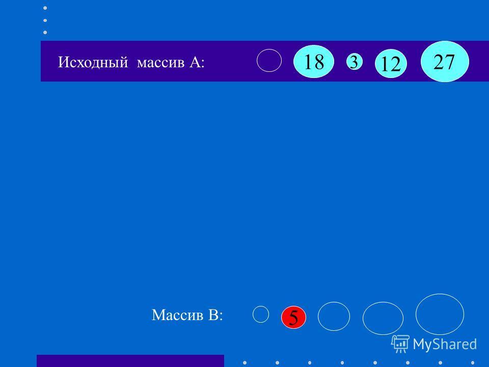 Исходный массив А: 18 12 3 27 5 K=1 Массив B: B[k+1]:=A[i] B[2]:=5