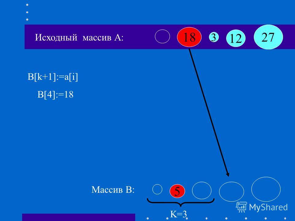 Исходный массив А: 18 12 3 27 5 Массив B: A[1]:=18 если A[j]