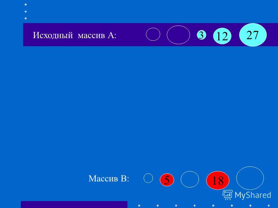 B[k+1]:=a[i] B[4]:=18 Исходный массив А: 12 3 27 18 5 Массив B: K=3