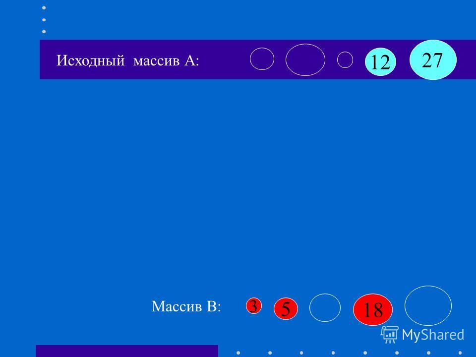 12 27 18 3 5 Массив B: Исходный массив А: B[k+1]:=a[i] B[1]:=3