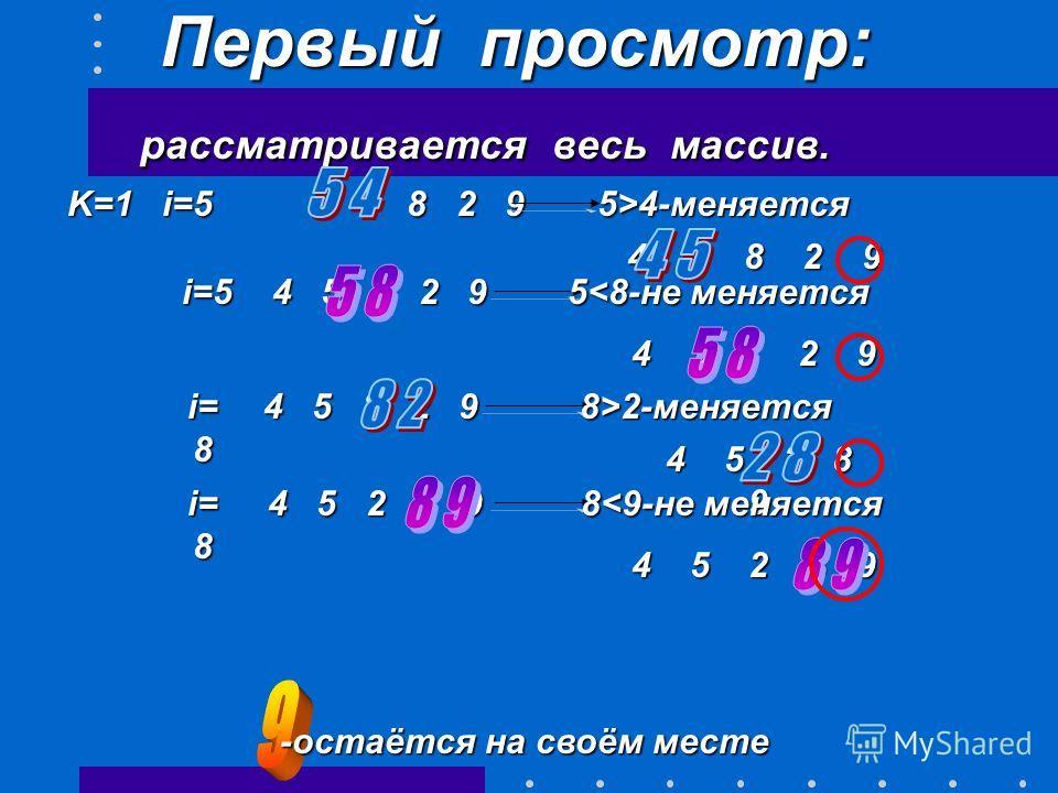 Отсортируем по возрастанию массив из 5 элементов: 5 2 8 4 9. Длина текущей (неупорядоченной) части массива-(N-k+1), где k –номер просмотра, i-номер первого элемента проверяемой пары (в данном случае i=5), номер последней пары - N-k (например 4 и 9).