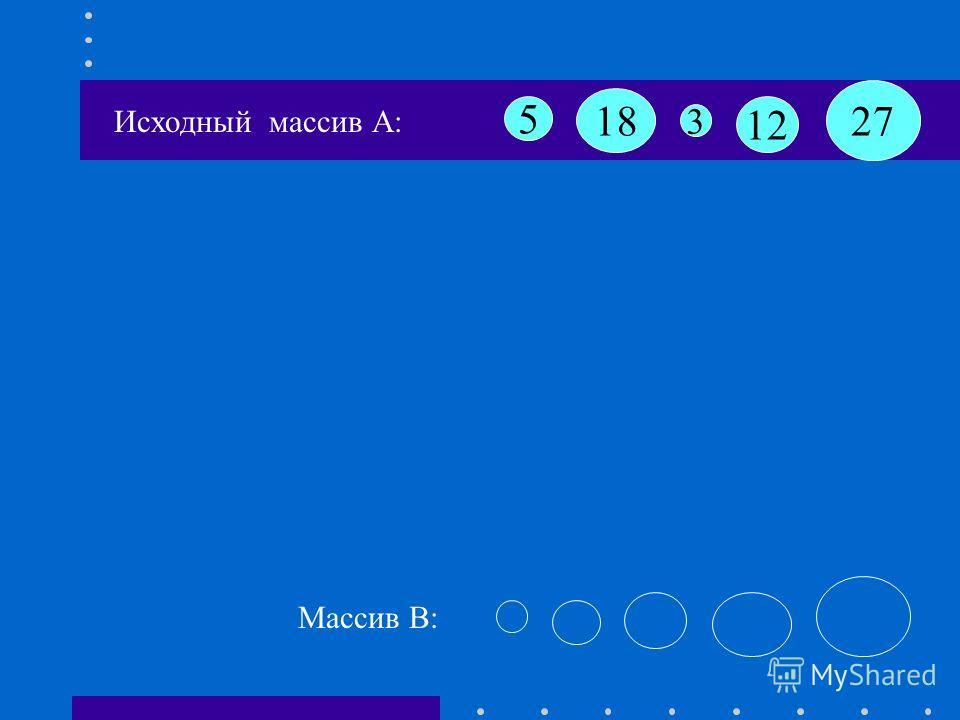 18 12 3 5 27 Исходный массив А: Массив B: Задача : Расположить элементы массива в порядке возрастания в массиве B