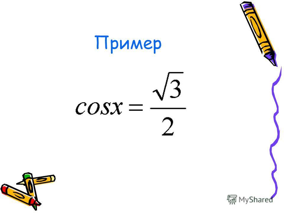 III.x Є R; x - ? x 1 = arccos a +2πn, n Є Z; x 2 = - arccos a +2πn, n Є Z; или x= ± arccos a +2πn, n Є Z; Решение простейшего тригон- кого уравнения cos x = a. |a|1. π 2π2π 0 -π-π -2π y=a y=cos x