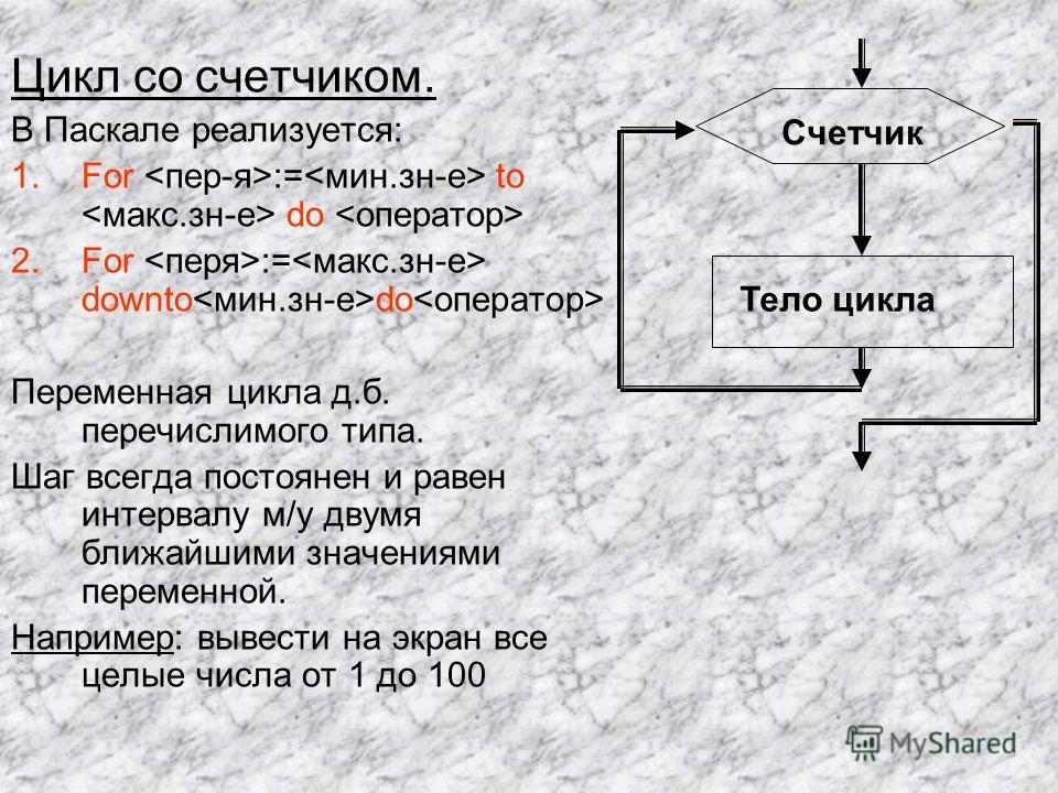 Цикл со счетчиком. В Паскале реализуется: 1.For := to do 2.For := downto do Переменная цикла д.б. перечислимого типа. Шаг всегда постоянен и равен интервалу м/у двумя ближайшими значениями переменной. Например: вывести на экран все целые числа от 1 д