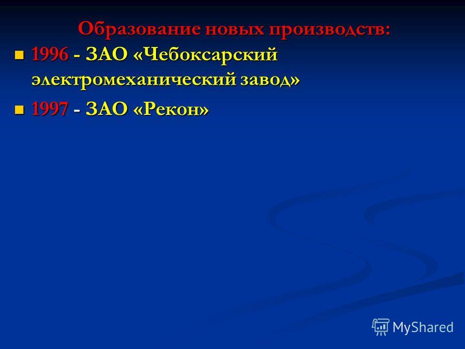 1996 - ЗАО «Чебоксарский электромеханический завод» 1996 - ЗАО «Чебоксарский электромеханический завод» 1997 - ЗАО «Рекон» 1997 - ЗАО «Рекон» Образование новых производств: