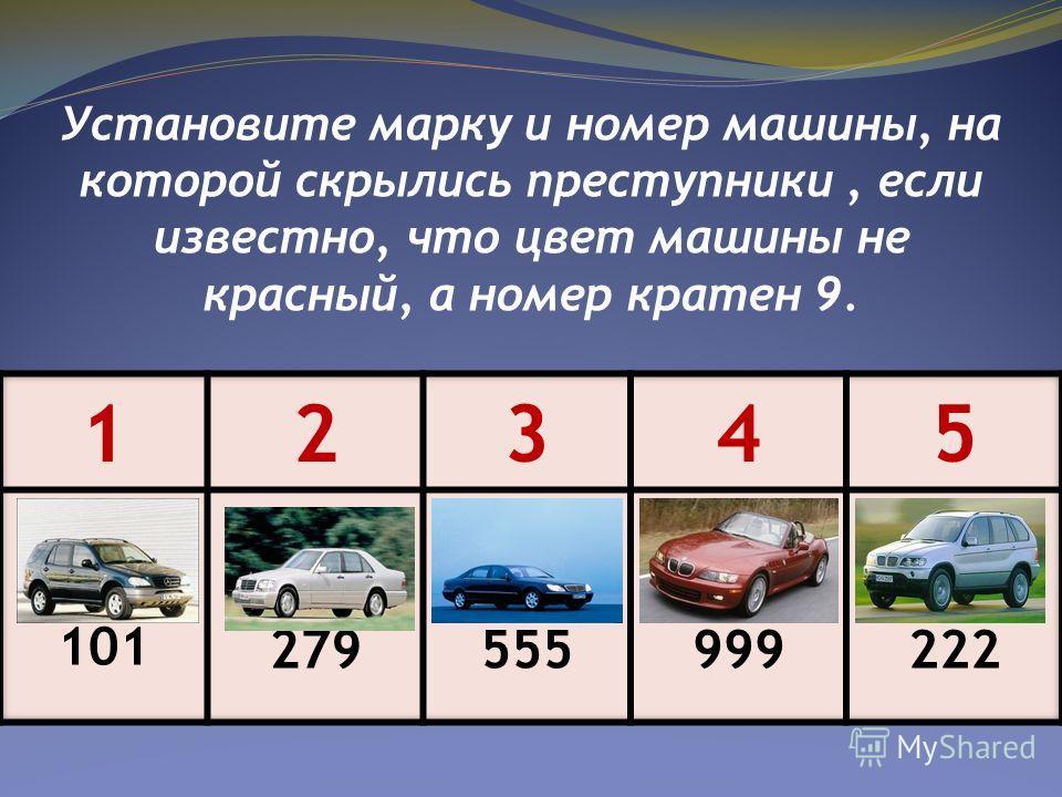 Установите марку и номер машины, на которой скрылись преступники, если известно, что цвет машины не красный, а номер кратен 9.