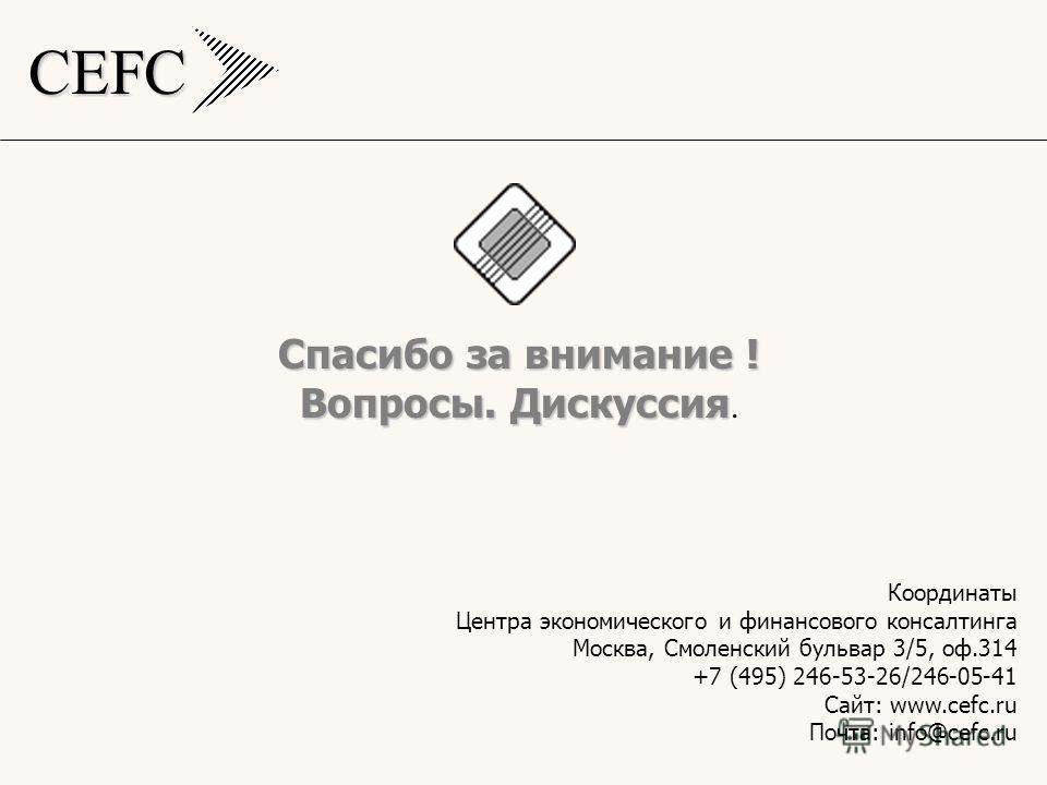 CEFC Спасибо за внимание ! Вопросы. Дискуссия Вопросы. Дискуссия. Координаты Центра экономического и финансового консалтинга Москва, Смоленский бульвар 3/5, оф.314 +7 (495) 246-53-26/246-05-41 Сайт: www.cefc.ru Почта: info@cefc.ru