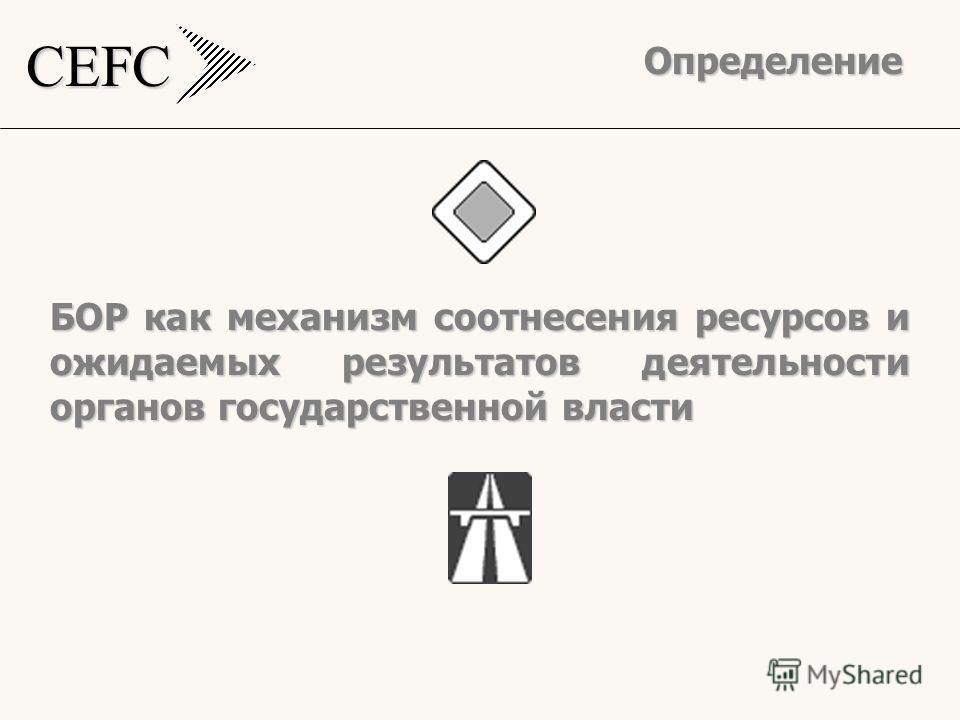 CEFC БОР как механизм соотнесения ресурсов и ожидаемых результатов деятельности органов государственной власти Определение