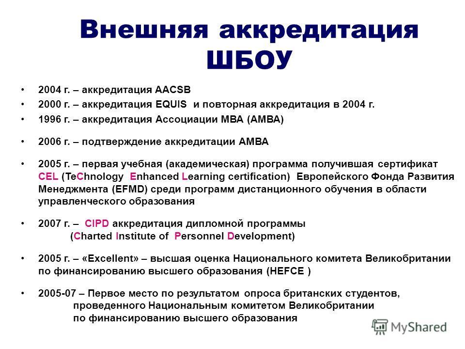 Внешняя аккредитация ШБОУ 2004 г. – аккредитация AACSB 2000 г. – аккредитация EQUIS и повторная аккредитация в 2004 г. 1996 г. – аккредитация Ассоциации МВА (АМВА) 2006 г. – подтверждение аккредитации АМВА 2005 г. – первая учебная (академическая) про