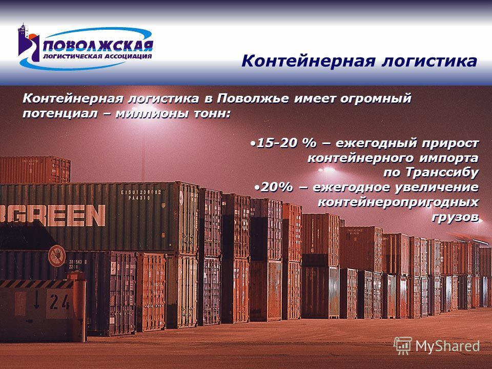 Контейнерная логистика в Поволжье имеет огромный потенциал – миллионы тонн: 15-20 % ежегодный прирост контейнерного импорта по Транссибу 20% ежегодное увеличение контейнеропригодных грузов 15-20 % ежегодный прирост контейнерного импорта по Транссибу