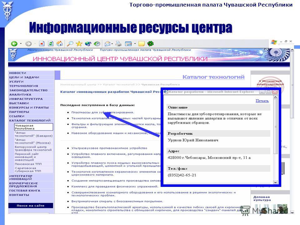 Торгово-промышленная палата Чувашской Республики Информационные ресурсы центра