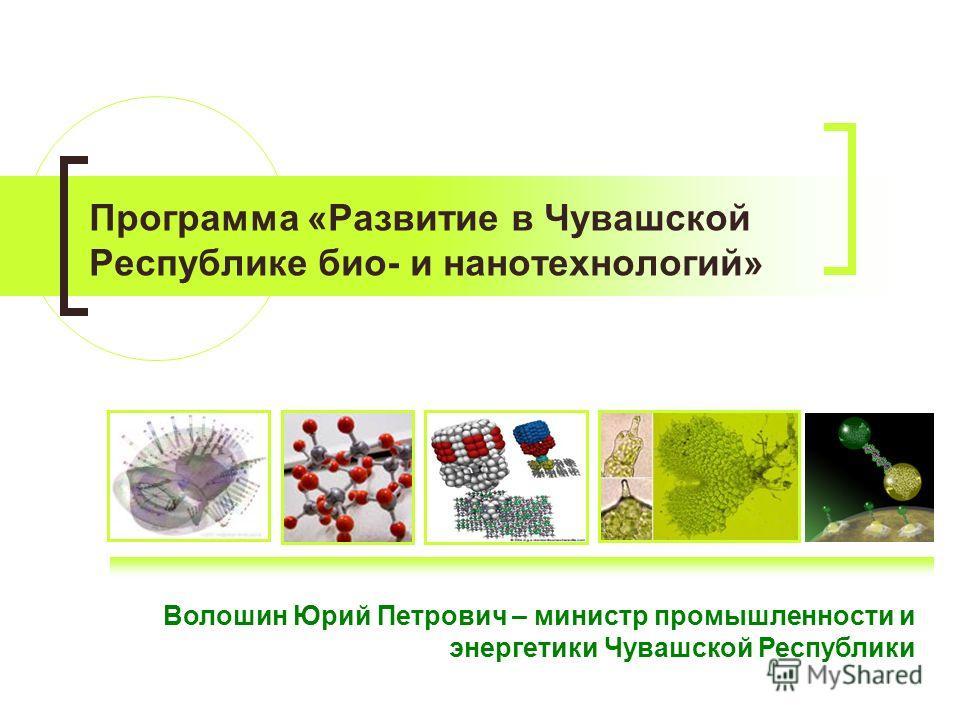 Программа «Развитие в Чувашской Республике био- и нанотехнологий» Волошин Юрий Петрович – министр промышленности и энергетики Чувашской Республики