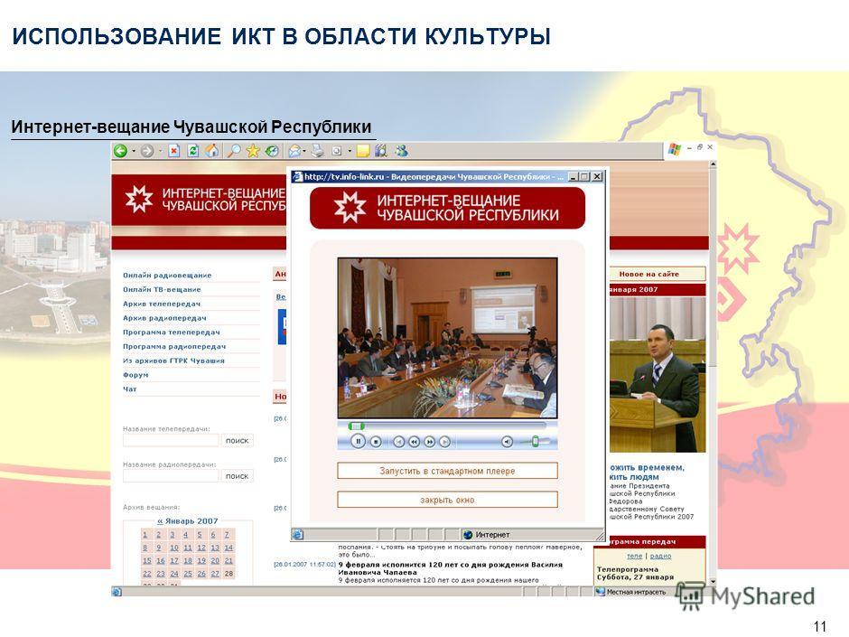 11 ИСПОЛЬЗОВАНИЕ ИКТ В ОБЛАСТИ КУЛЬТУРЫ Интернет-вещание Чувашской Республики