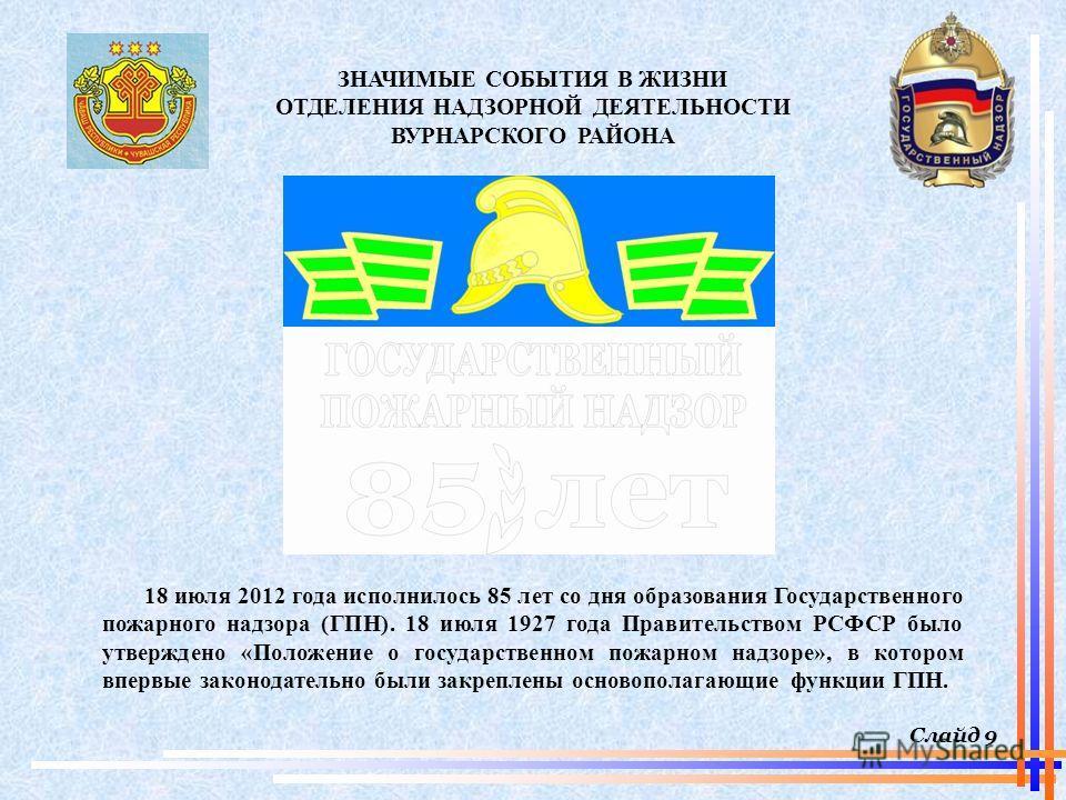 Слайд 9 ЗНАЧИМЫЕ СОБЫТИЯ В ЖИЗНИ ОТДЕЛЕНИЯ НАДЗОРНОЙ ДЕЯТЕЛЬНОСТИ ВУРНАРСКОГО РАЙОНА 18 июля 2012 года исполнилось 85 лет со дня образования Государственного пожарного надзора (ГПН). 18 июля 1927 года Правительством РСФСР было утверждено «Положение о
