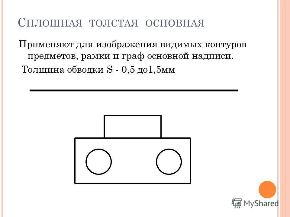 С ПЛОШНАЯ ТОЛСТАЯ ОСНОВНАЯ Применяют для изображения видимых контуров предметов, рамки и граф основной надписи. Толщина обводки S - 0,5 до1,5мм