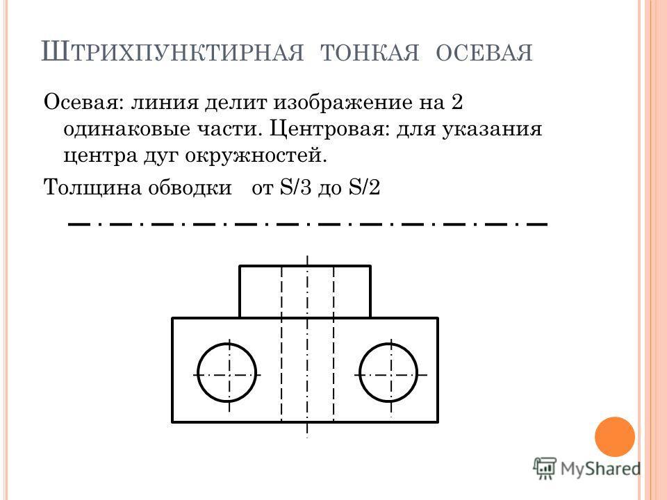 Ш ТРИХПУНКТИРНАЯ ТОНКАЯ ОСЕВАЯ Осевая: линия делит изображение на 2 одинаковые части. Центровая: для указания центра дуг окружностей. Толщина обводки от S/3 до S/2