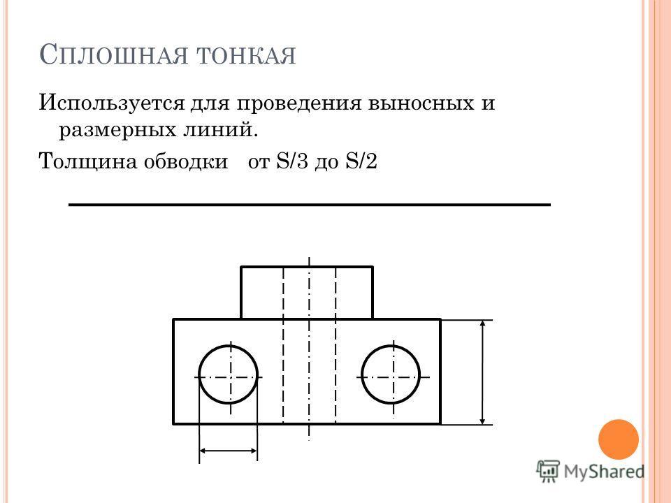 С ПЛОШНАЯ ТОНКАЯ Используется для проведения выносных и размерных линий. Толщина обводки от S/3 до S/2