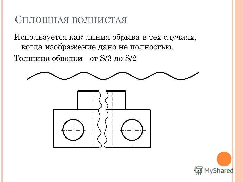 С ПЛОШНАЯ ВОЛНИСТАЯ Используется как линия обрыва в тех случаях, когда изображение дано не полностью. Толщина обводки от S/3 до S/2