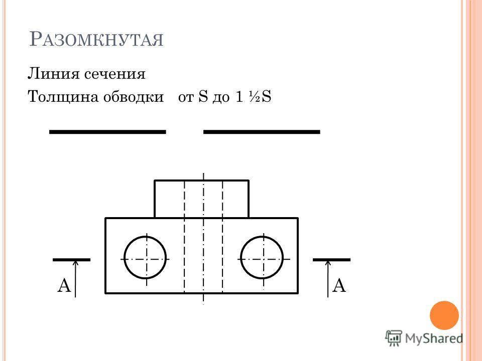 Р АЗОМКНУТАЯ Линия сечения Толщина обводки от S до 1 ½S АА