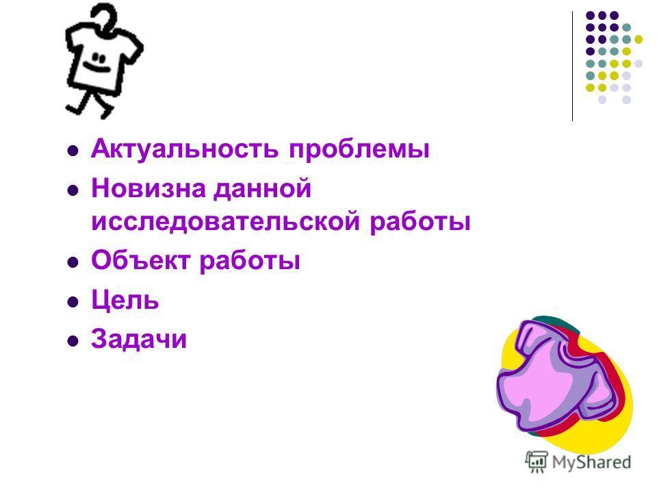 Актуальность проблемы Новизна данной исследовательской работы Объект работы Цель Задачи