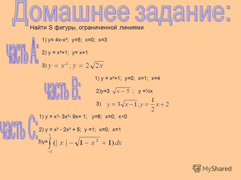 Найти S фигуры, ограниченной линиями : 1) у= 4х-х²; у=5; х=0; х=3 2) у = х²+1; у= х+1 3) 1) у = х²+1; у=0; х=1; х=4 2)у=3 ; у =½х 3) 1) у = х³- 3х²- 9х+ 1; у=6; х=0; х